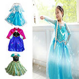 2014 Frozen Dress Summer Frozen Princess Gauze Dress Animated Cartoon Dress Girls' Long-Sleeved Frozen Dress.