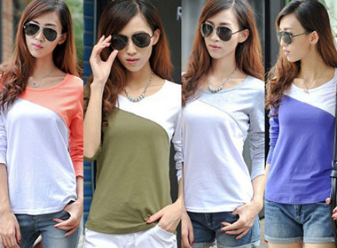 Women's Casual T-Shirt w/ Long Sleeve & Patchwork