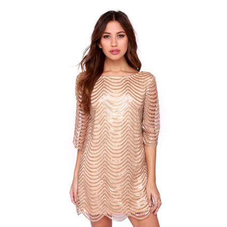 Women Luxury Sexy Sequines Mini Dresses with Hollow on Sleeves