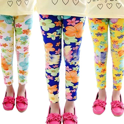 Girls' Leggings w/ Flower Print Candy Colors