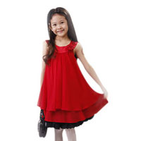 Girls' Lined Pleated Chiffon Tutu Dress w/ Rose