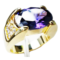 Newest Design Yellow Gold Plated Copper Purple Zircon Stone Wedding Rings for Men
