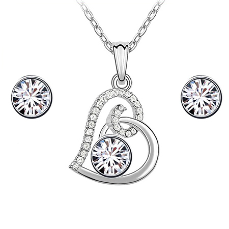 Free Shipping Hot Heart Jewelry Set Made By Swarovski Element Crystal