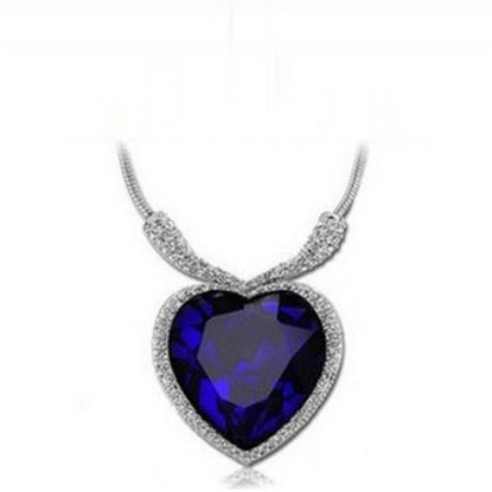 Free Shipping Blue Heart of Ocean Romantic Crystal Necklace