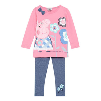 Girls' Two-Piece Clothing Set of Peppa Pig Printed Sweater & Pants