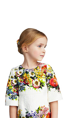 Pre-sale 2014 new three quarter girl dress,top quality Italy brand girl's dress,digital print floral children dress 2-12Y