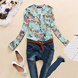 2014Spring V-neck Chiffon Women's Blouse Women's Long Sleeve Flower Printed Shirt Clothing Blusas Femininas