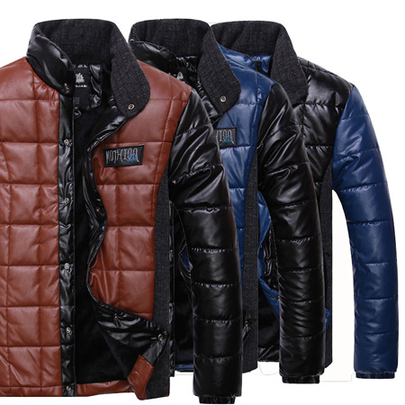 Winter Jacket Men New 2014 Designer Brand Outdoors Winter Coat Outwears Men Warm Fashion PU leather Parka VG8630
