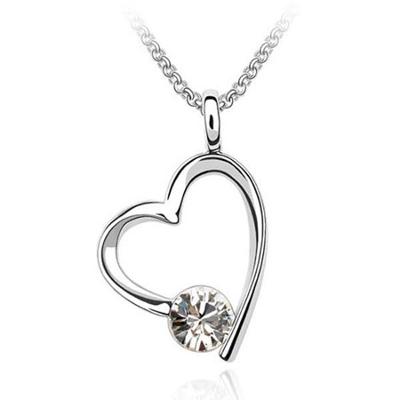 Free shipping gift heart shaped Swarovski element crystal jewelry necklace