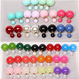 Big Earrings Double Faced Pearl Crystal Colorful Ear Cuff Women's Brand Brinco Summer Dress 2014 Bijoux 16mm