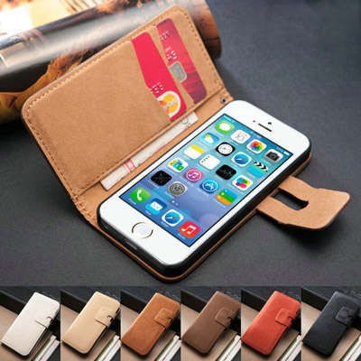 Stand PU Leather Flip Case w/ Card Slot for iPhone 5/5S 10 Colors