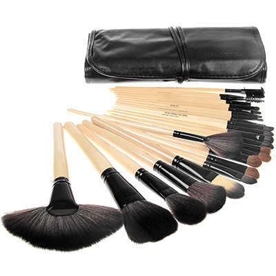Professional Makeup Brush Set w/ Goat Hair & Case