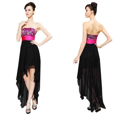 06123 High Low Strapless Sequins Black & Pink Ruched Waist Short Front Long Back Cocktail Dress